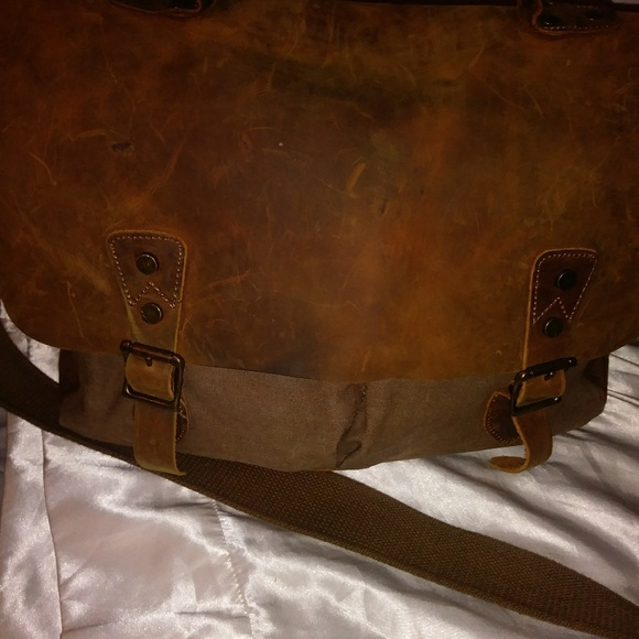 Lifewit Other - Lifewit Canvas Leather Trim Briefcase laptop bag